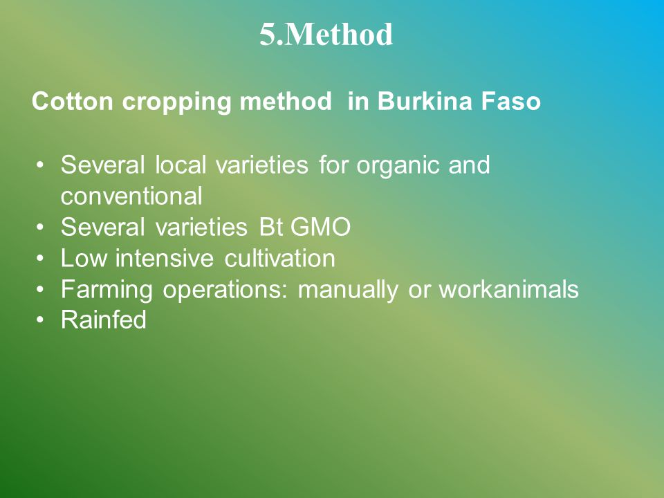Several local varieties for organic and conventional Several varieties Bt GMO Low intensive cultivation Farming operations: manually or workanimals Rainfed 5.Method Cotton cropping method in Burkina Faso