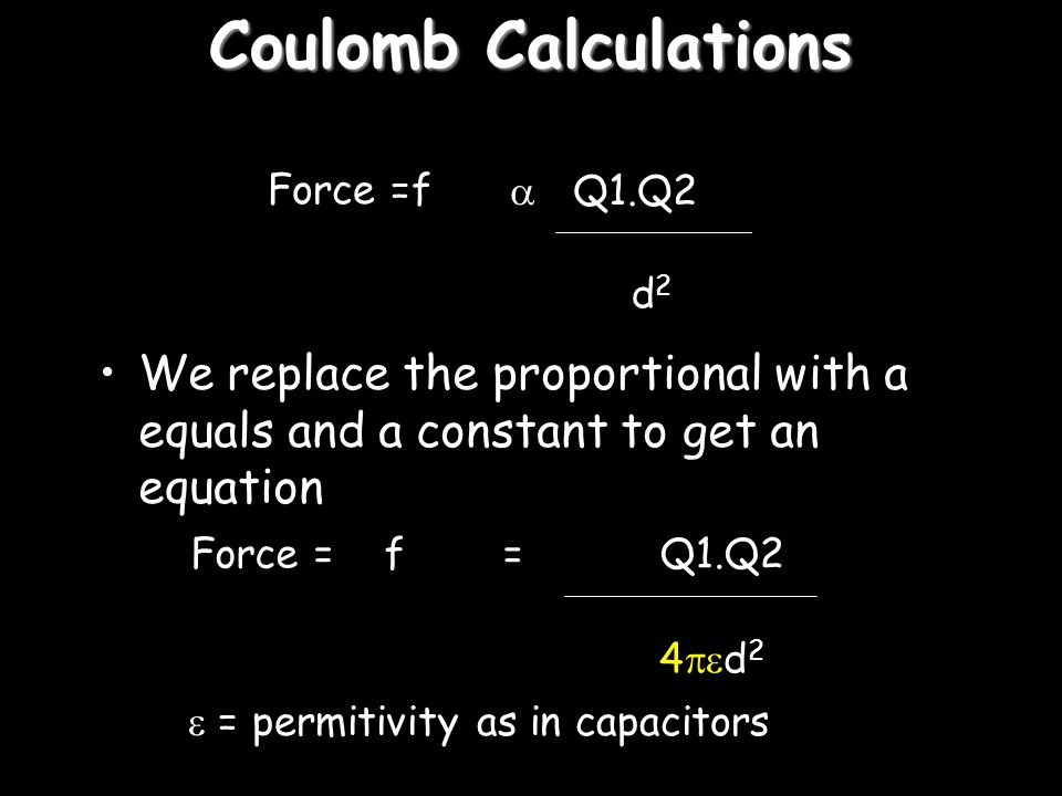 Coulomb's Law Force between two charged bodies Force = f  Q1.Q2 d2d2 Q1Q2 d Put this as a sentence to get a law!