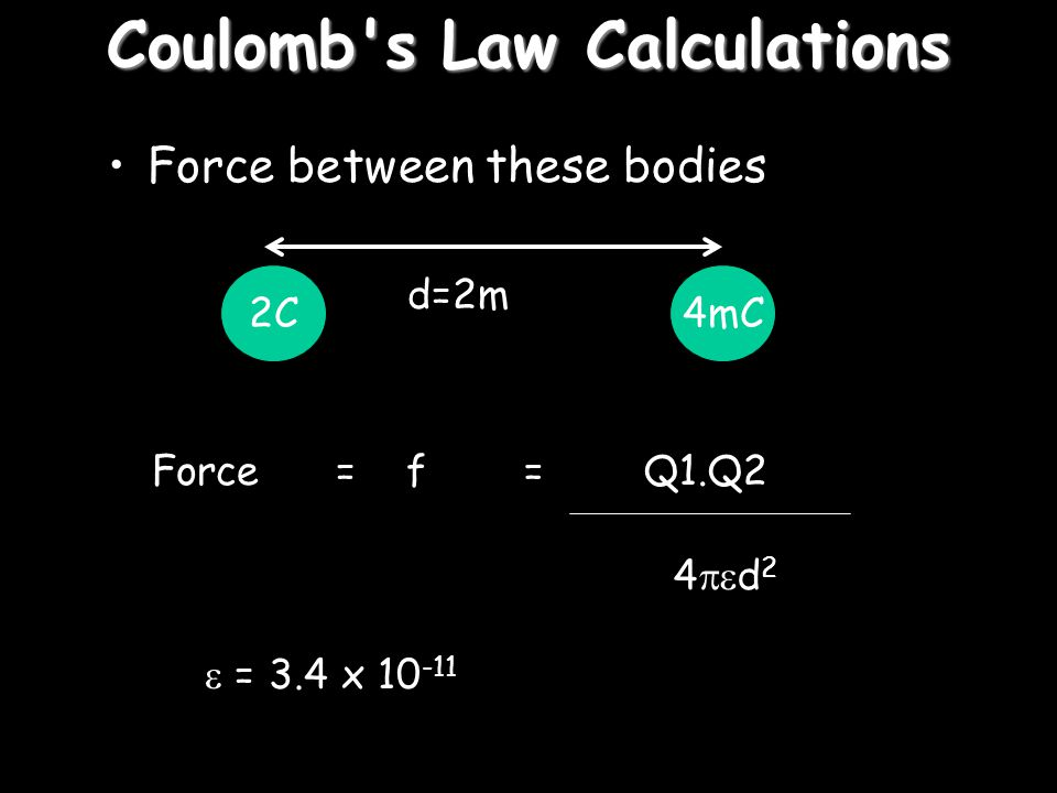 Coulomb Calculations We replace the proportional with a equals and a constant to get an equation Force =f  Q1.Q2 d2d2 Force = f= Q1.Q2 4  d 2  = p