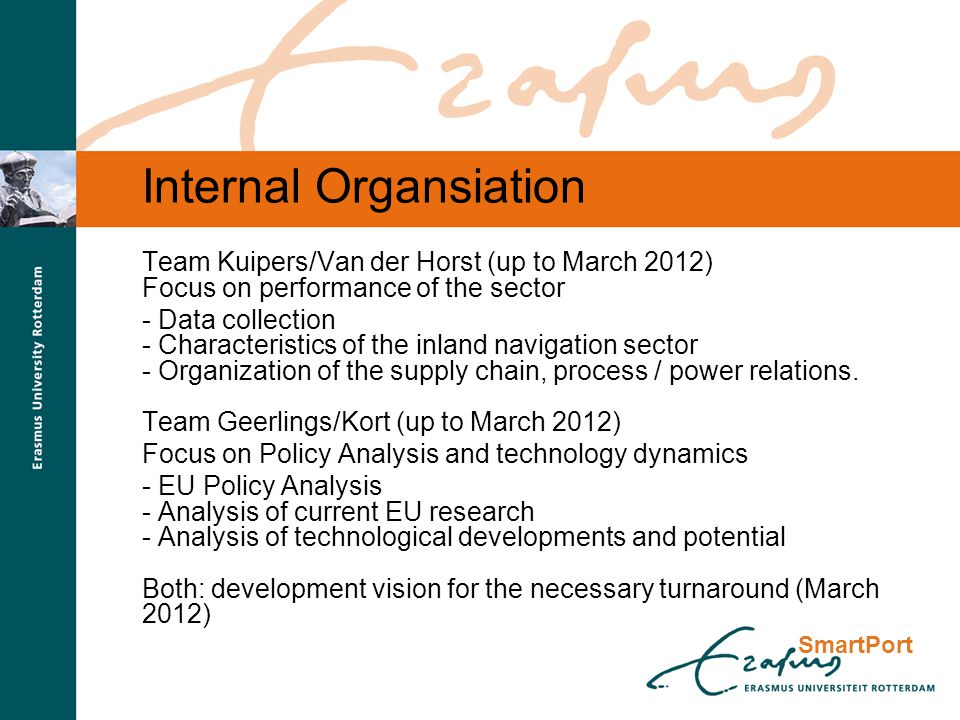SmartPort Internal Organsiation Team Kuipers/Van der Horst (up to March 2012) Focus on performance of the sector - Data collection - Characteristics of the inland navigation sector - Organization of the supply chain, process / power relations.