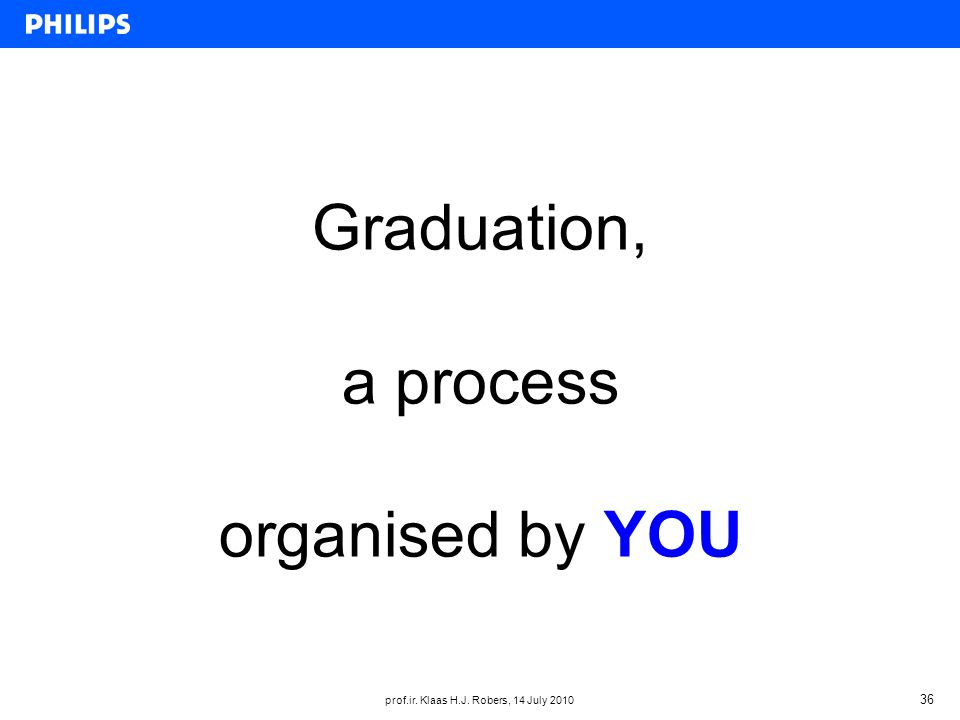 prof.ir. Klaas H.J. Robers, 14 July 2010 36 Graduation, a process organised by YOU