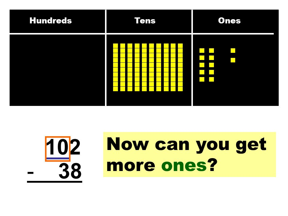 Hundreds Tens Ones 102 - 38 Now can you get more ones?