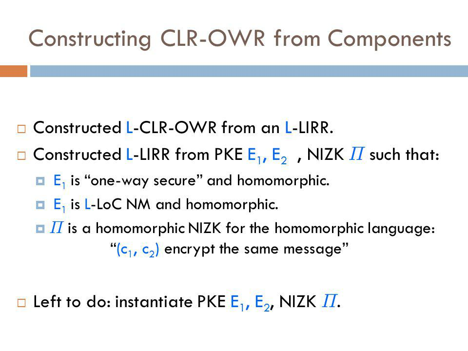 Constructing CLR-OWR from Components  Constructed L-CLR-OWR from an L-LIRR.