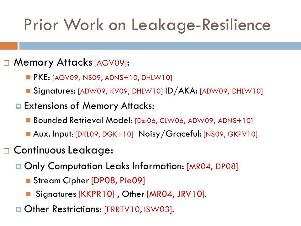 Prior Work on Leakage-Resilience  Memory Attacks [AGV09] : PKE: [AGV09, NS09, ADNS+10, DHLW10] Signatures: [ADW09, KV09, DHLW10] ID/AKA: [ADW09, DHLW10]  Extensions of Memory Attacks: Bounded Retrieval Model: [Dzi06, CLW06, ADW09, ADNS+10] Aux.