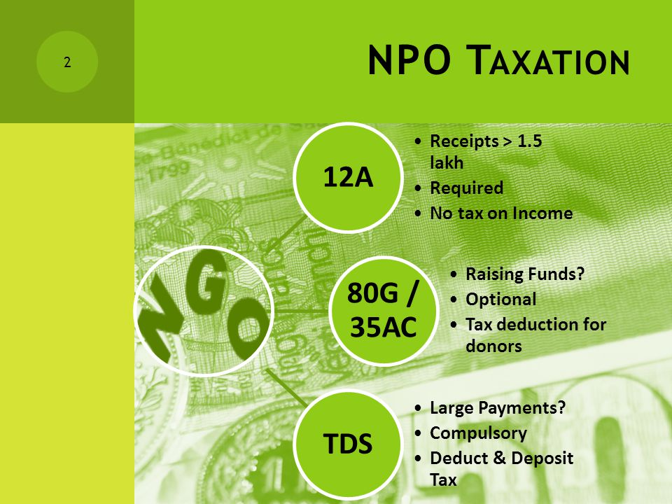 NPO T AXATION 12A Receipts > 1.5 lakh Required No tax on Income 80G / 35AC Raising Funds.