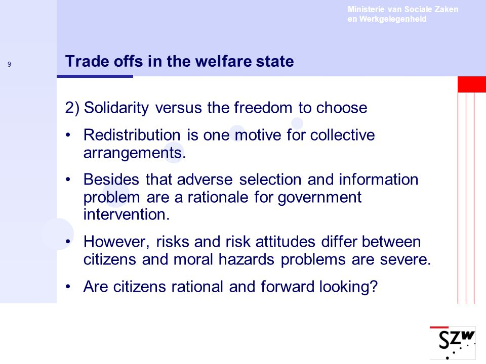 Ministerie van Sociale Zaken en Werkgelegenheid 10 Trade offs in the welfare state 3) Discretion versus the equality of rights Central problem: Information asymmetry between the central government and local public officials.