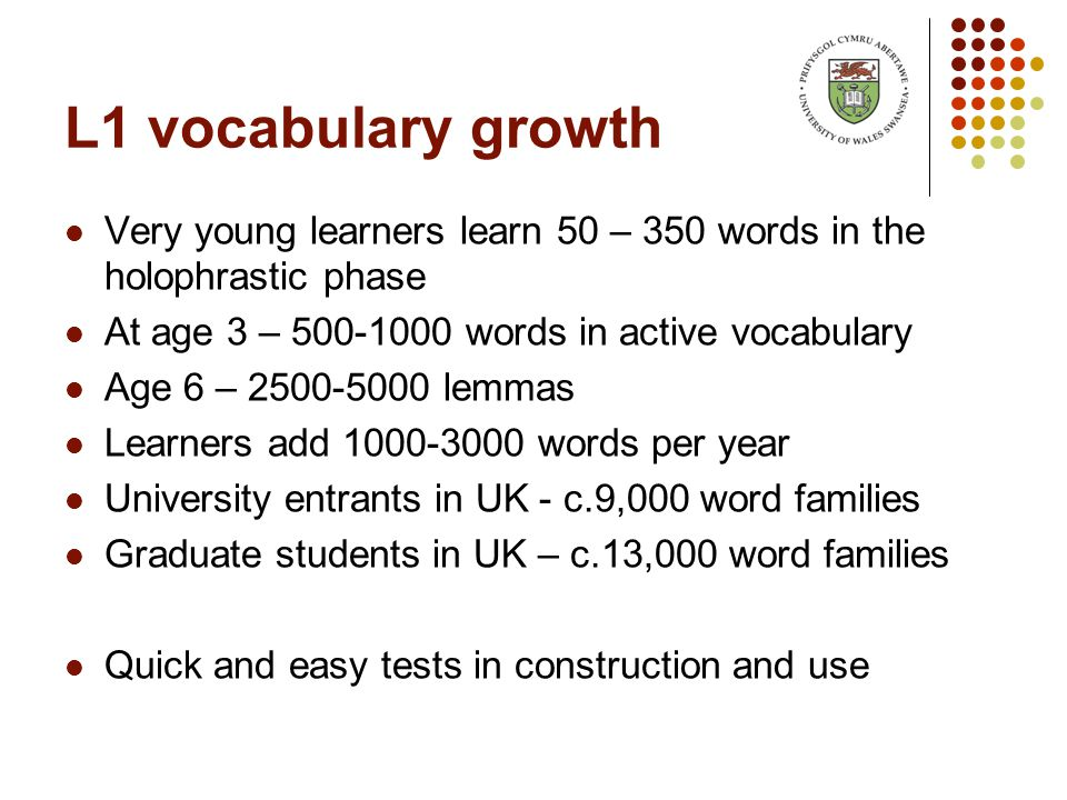 L1 vocabulary growth Very young learners learn 50 – 350 words in the holophrastic phase At age 3 – 500-1000 words in active vocabulary Age 6 – 2500-5000 lemmas Learners add 1000-3000 words per year University entrants in UK - c.9,000 word families Graduate students in UK – c.13,000 word families Quick and easy tests in construction and use