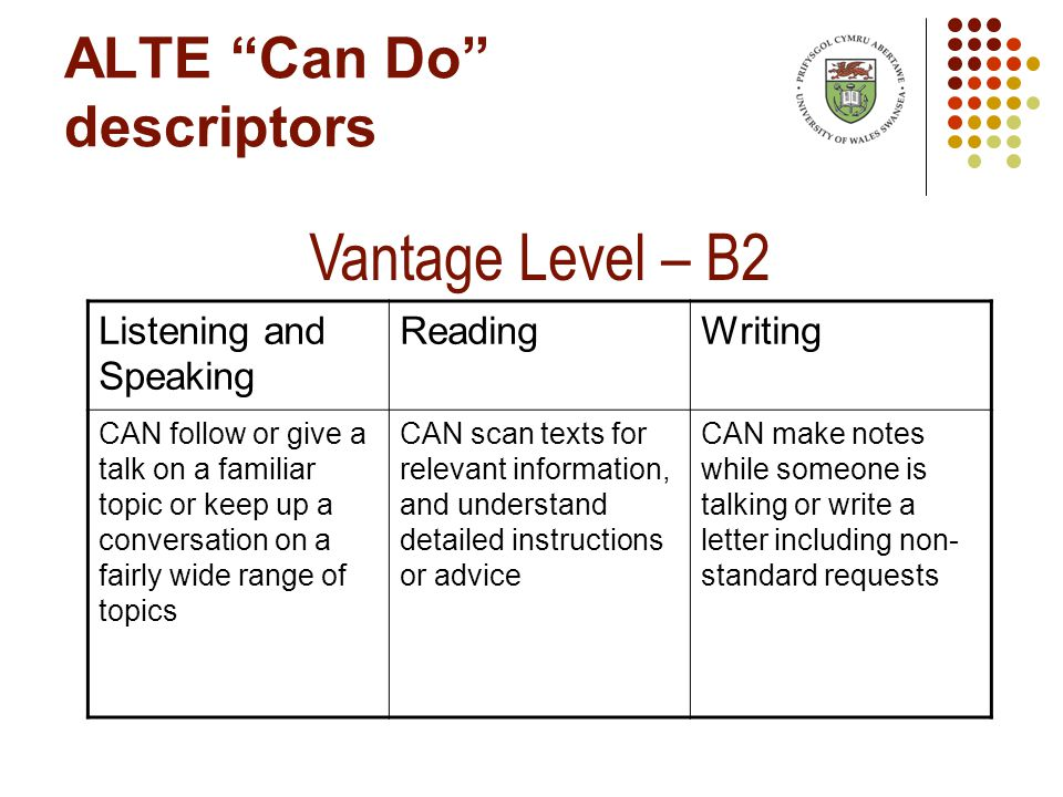 ALTE Can Do descriptors Vantage Level – B2 Listening and Speaking ReadingWriting CAN follow or give a talk on a familiar topic or keep up a conversation on a fairly wide range of topics CAN scan texts for relevant information, and understand detailed instructions or advice CAN make notes while someone is talking or write a letter including non- standard requests