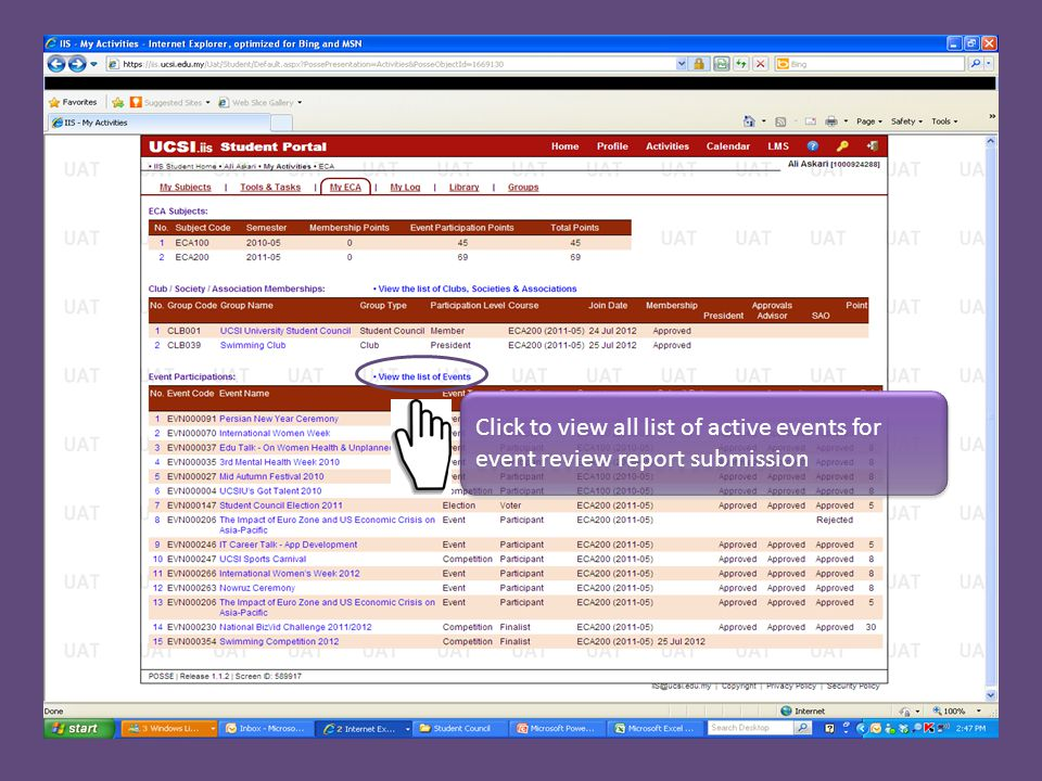 Click to view all list of active events for event review report submission