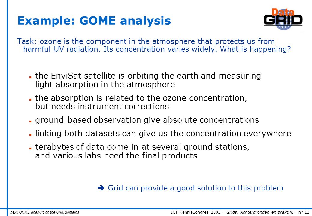 ICT KennisCongres 2003 – Grids: Achtergronden en praktijk– n° 11 Example: GOME analysis Task: ozone is the component in the atmosphere that protects us from harmful UV radiation.