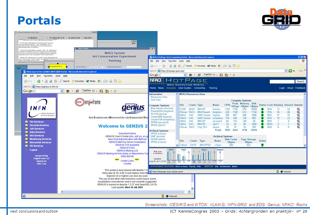 ICT KennisCongres 2003 – Grids: Achtergronden en praktijk– n° 26 Portals next: conclusions and outlook Screenshots: ICES/KIS and WTCW: VLAM-G; INFN-GRID and EDG: Genius; NPACI: Rocks