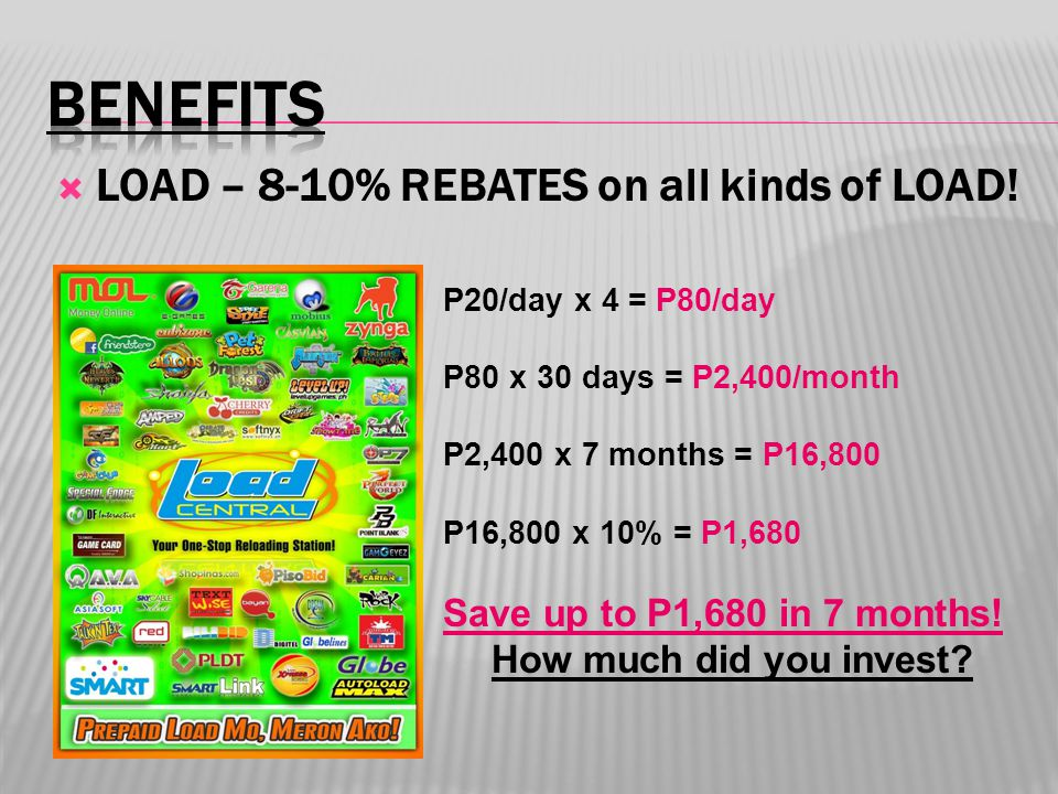  LOAD – 8-10% REBATES on all kinds of LOAD! P20/day x 4 = P80/day P80 x 30 days = P2,400/month P2,400 x 7 months = P16,800 P16,800 x 10% = P1,680 Sav