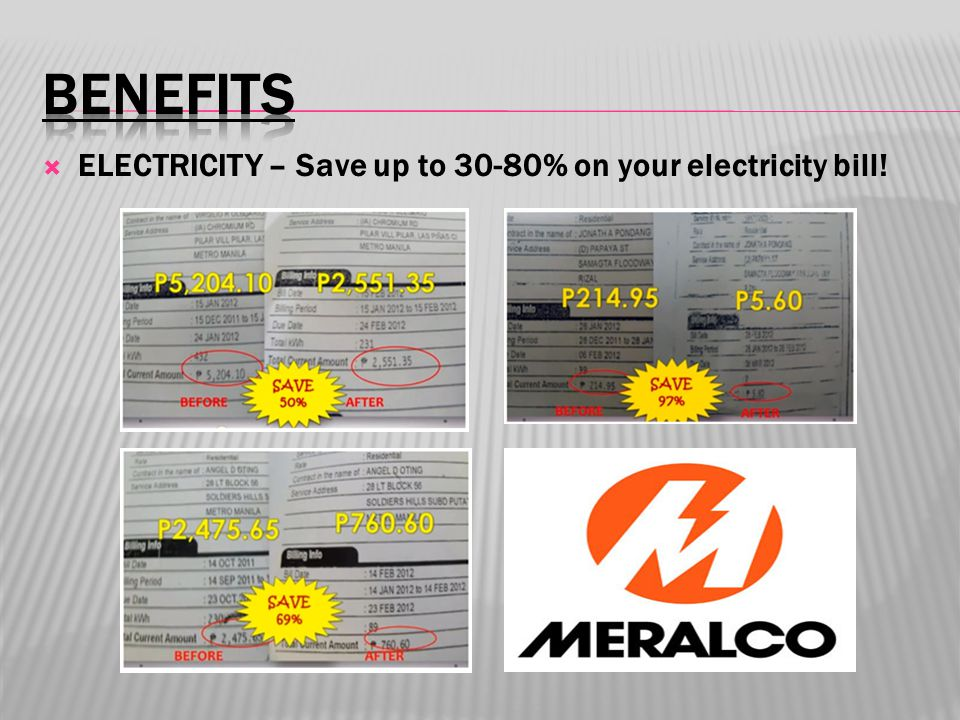  ELECTRICITY – Save up to 30-80% on your electricity bill!