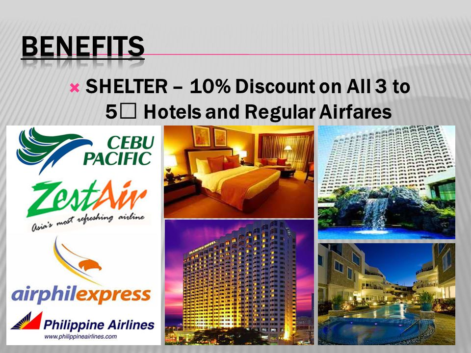 SHELTER – 10% Discount on All 3 to 5 ★ Hotels and Regular Airfares