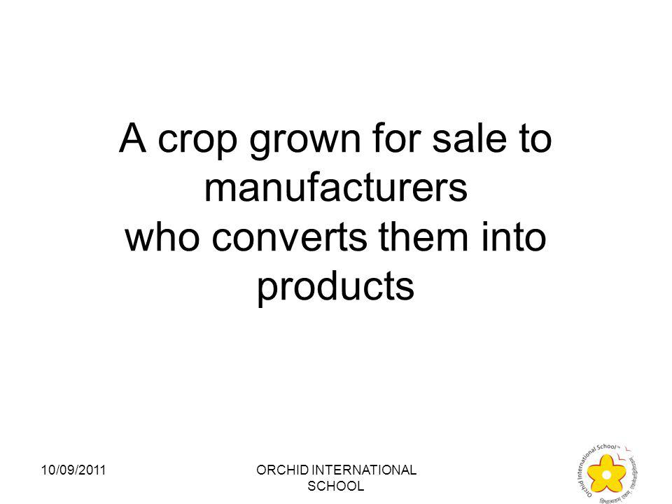 What is a Cash Crop? 1.A rich harvest 2.A crop grown for sale to manufacturers 3.Plantations crop 4.None above all 10/09/2011ORCHID INTERNATIONAL SCHO