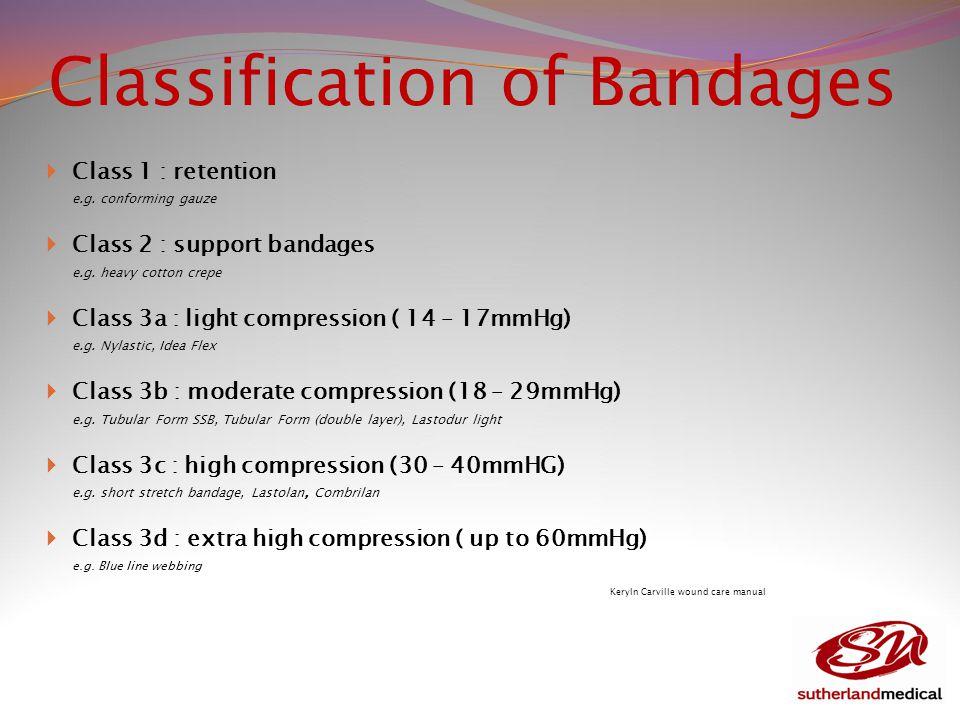 Classification of Bandages  Class 1 : retention e.g.