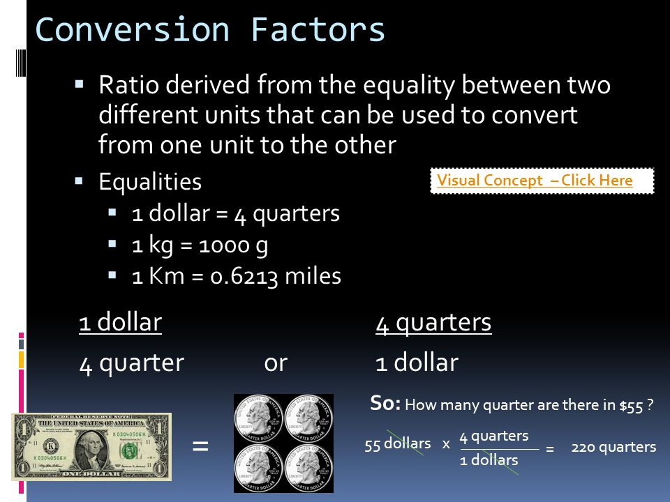 Conversion Factors  Ratio derived from the equality between two different units that can be used to convert from one unit to the other  Equalities 
