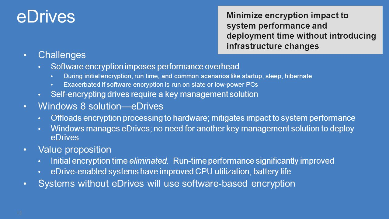 Challenges Software encryption imposes performance overhead During initial encryption, run time, and common scenarios like startup, sleep, hibernate E