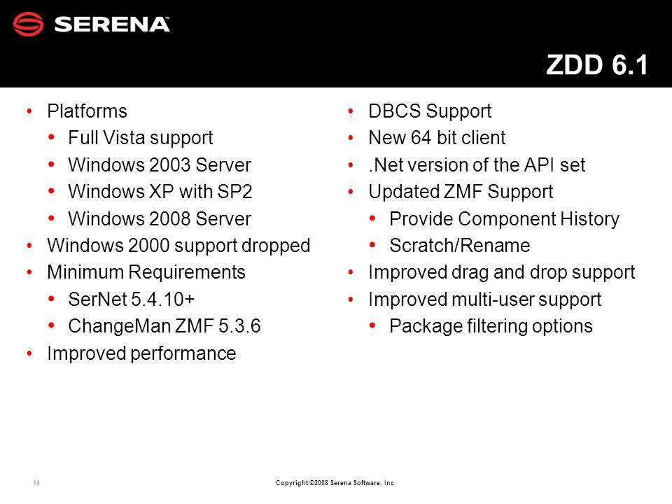 14 Copyright ©2008 Serena Software, Inc. ZDD 6.1 Platforms Full Vista support Windows 2003 Server Windows XP with SP2 Windows 2008 Server Windows 2000