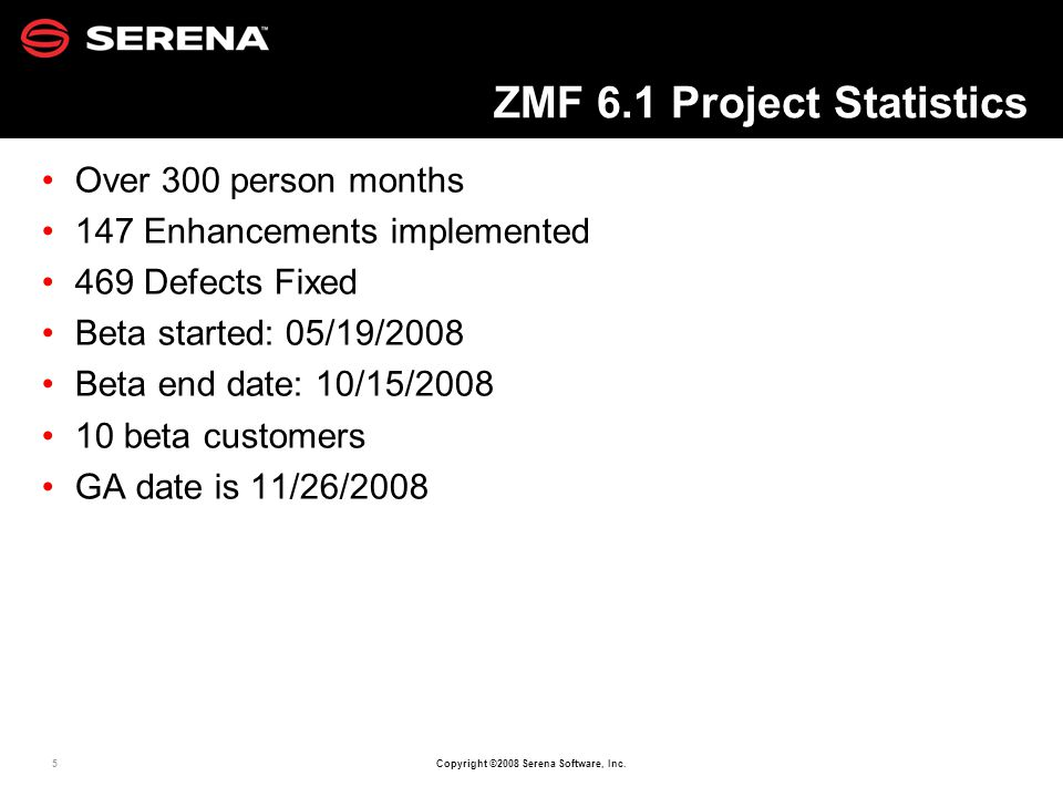 5 Copyright ©2008 Serena Software, Inc. ZMF 6.1 Project Statistics Over 300 person months 147 Enhancements implemented 469 Defects Fixed Beta started: