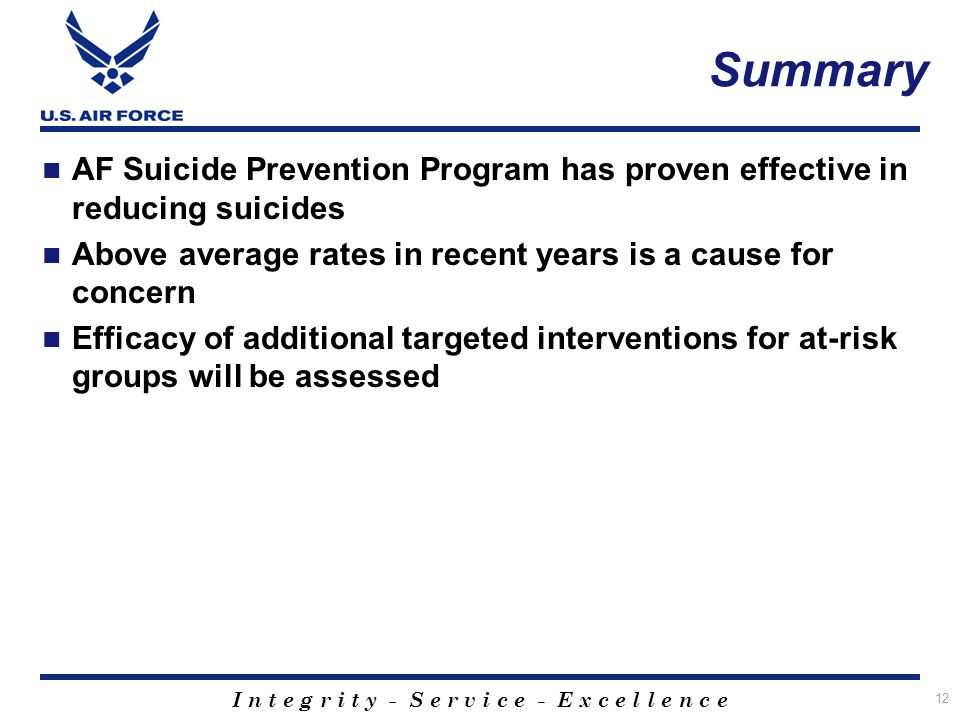 I n t e g r i t y - S e r v i c e - E x c e l l e n c e Summary 12 AF Suicide Prevention Program has proven effective in reducing suicides Above avera