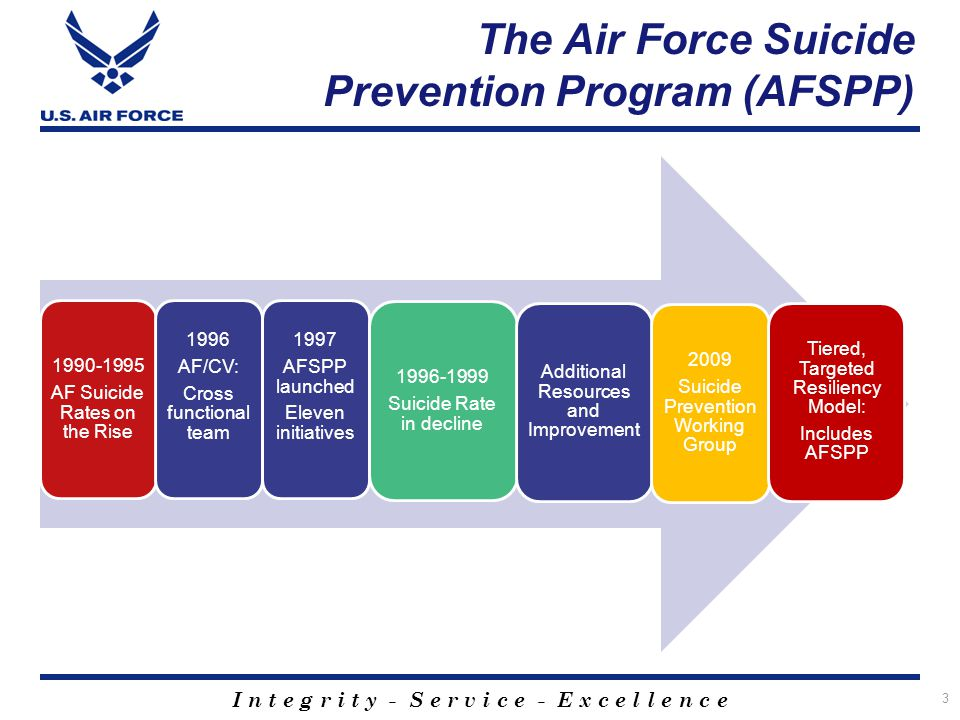 I n t e g r i t y - S e r v i c e - E x c e l l e n c e The Air Force Suicide Prevention Program (AFSPP) 1990-1995 AF Suicide Rates on the Rise 1996 A