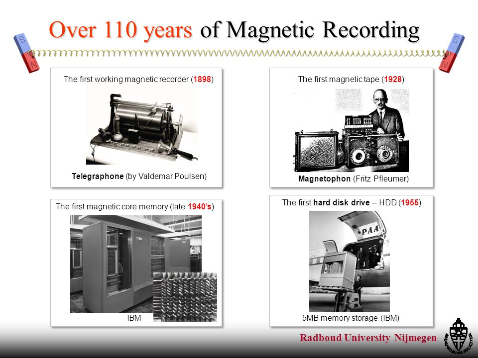Radboud University Nijmegen Over 110 years of Magnetic Recording Telegraphone (by Valdemar Poulsen) The first working magnetic recorder (1898) The first hard disk drive – HDD (1955) 5MB memory storage (IBM) The first magnetic tape (1928) Magnetophon (Fritz Pfleumer) The first magnetic core memory (late 1940's) IBM