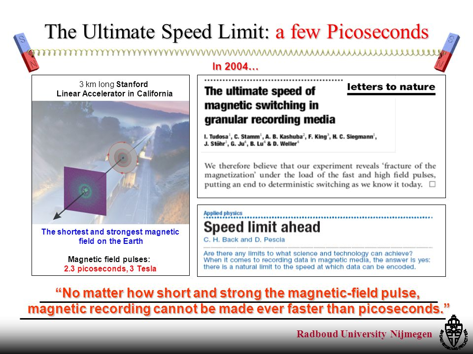Radboud University Nijmegen No matter how short and strong the magnetic-field pulse, magnetic recording cannot be made ever faster than picoseconds. The Ultimate Speed Limit: a few Picoseconds Magnetic field pulses: 2.3 picoseconds, 3 Tesla 3 km long Stanford Linear Accelerator in California The shortest and strongest magnetic field on the Earth In 2004…