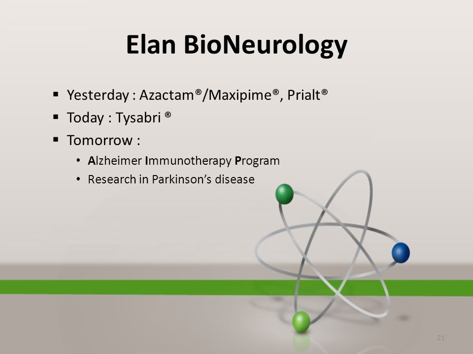 Elan BioNeurology  Yesterday : Azactam®/Maxipime®, Prialt®  Today : Tysabri ®  Tomorrow : Alzheimer Immunotherapy Program Research in Parkinson's disease 21