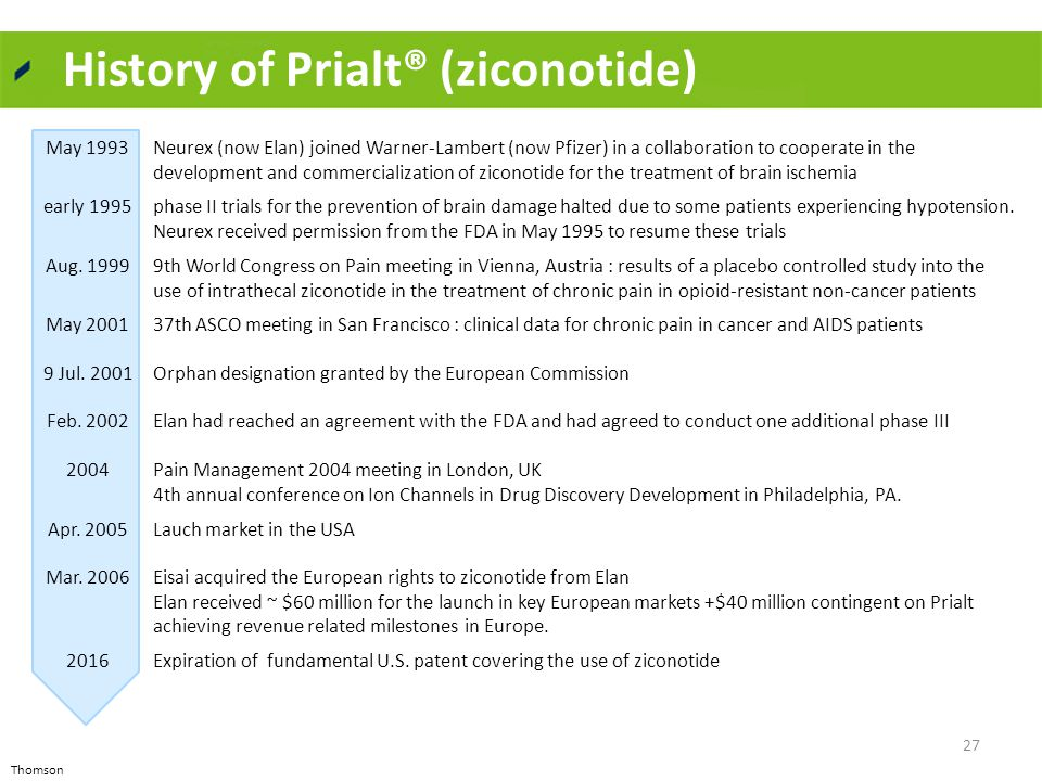 History of Prialt® (ziconotide) May 1993Neurex (now Elan) joined Warner-Lambert (now Pfizer) in a collaboration to cooperate in the development and co