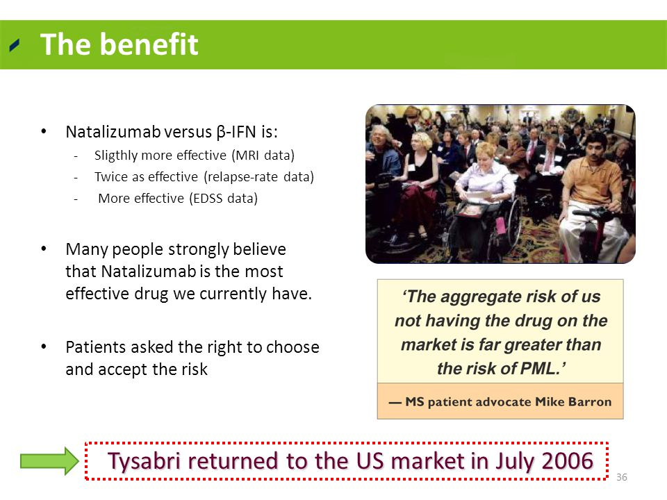 The benefit Natalizumab versus β-IFN is: -Sligthly more effective (MRI data) -Twice as effective (relapse-rate data) - More effective (EDSS data) Many