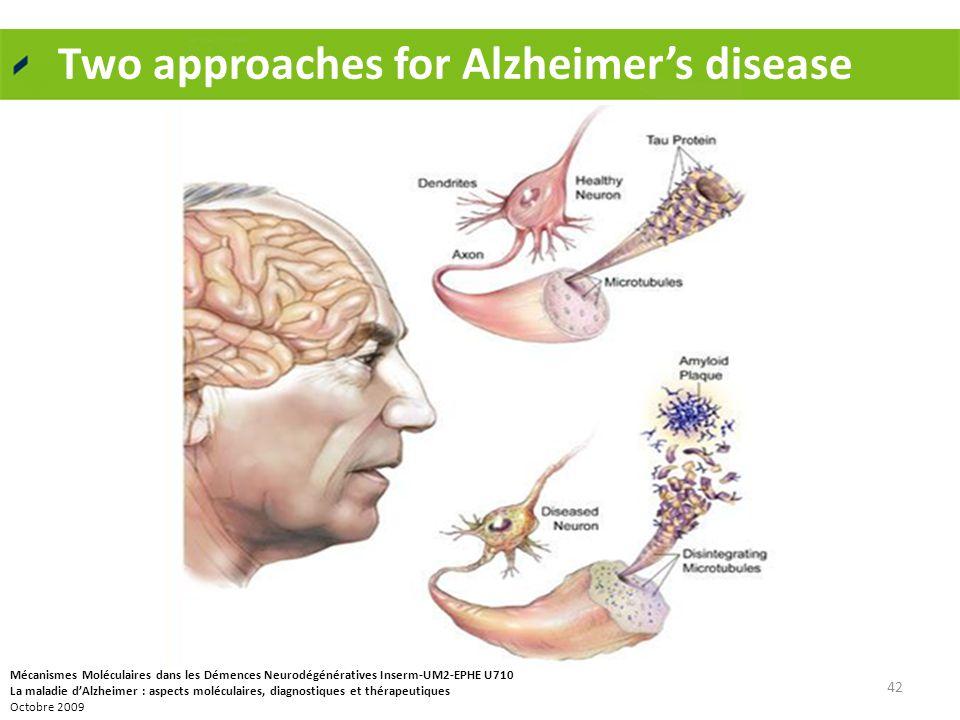 Two approaches for Alzheimer's disease 42 Mécanismes Moléculaires dans les Démences Neurodégénératives Inserm-UM2-EPHE U710 La maladie d'Alzheimer : a