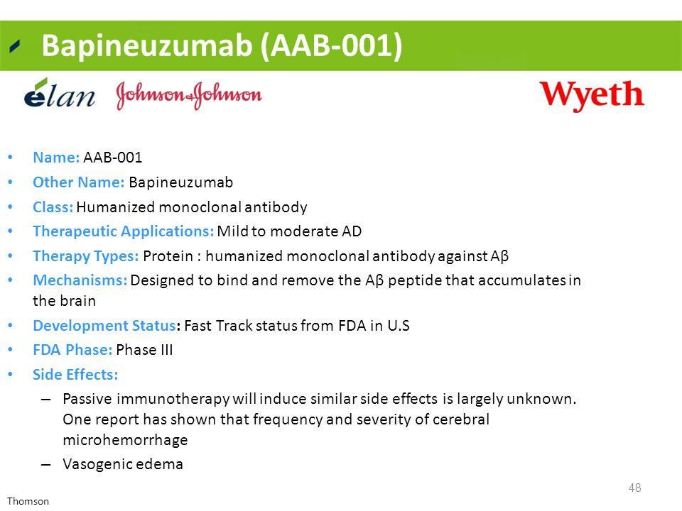 Bapineuzumab (AAB-001) 48 Name: AAB-001 Other Name: Bapineuzumab Class: Humanized monoclonal antibody Therapeutic Applications: Mild to moderate AD Th