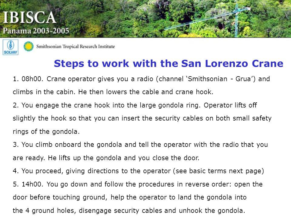 Steps to work with the San Lorenzo Crane 1. 08h00.