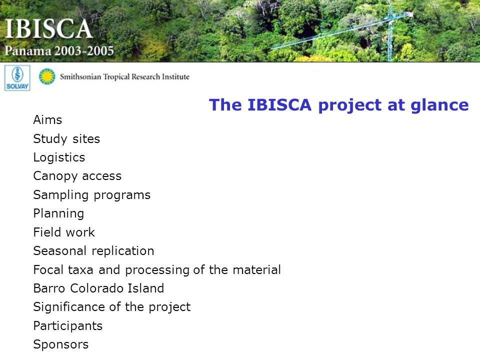 The IBISCA project at glance Aims Study sites Logistics Canopy access Sampling programs Planning Field work Seasonal replication Focal taxa and processing of the material Barro Colorado Island Significance of the project Participants Sponsors