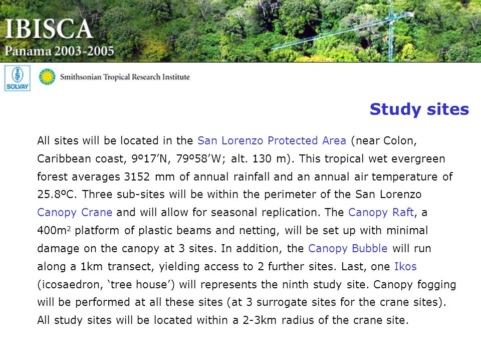 Study sites All sites will be located in the San Lorenzo Protected Area (near Colon, Caribbean coast, 9º17'N, 79º58'W; alt.