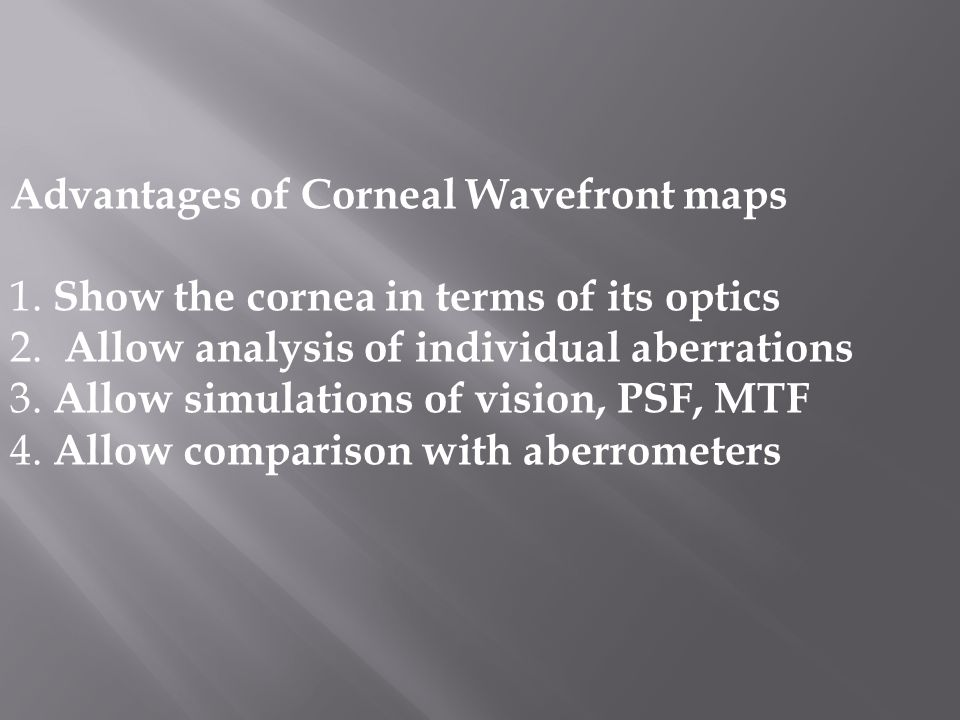  The corneal wavefront guided ablation treats the optical irregularities of the aberrated cornea  It combines the meaningful and substantial WF guided ablation but focused solely on the corneal surface contribution (as the topo guided ablation)  This must be coupled with a precise ablation registration (with torsion control) and a fast and reliable eye tracker  Transepithelial PRK makes use of the smoothing effect of the corneal epithelium  Accelerated,partial or full crosslinking, effectively strengthens the cornea after such treatments  The use of Femto thin flap Lasik combined with partial crosslinking (Xtra) can be safely used in treating consecutive hyperopia after myopic PRK