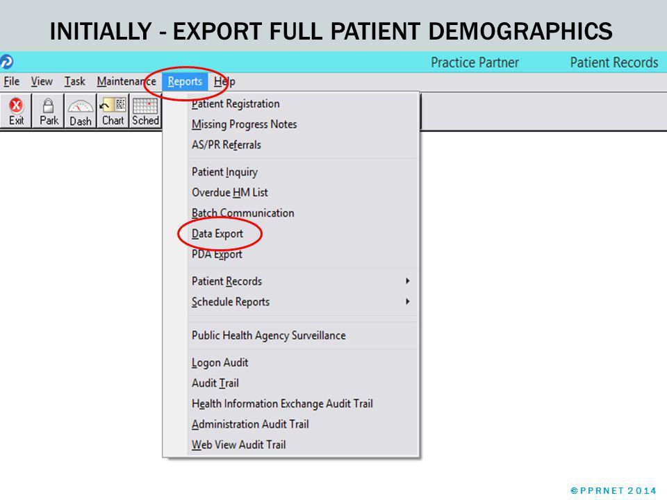 EXPORT MEDICAL SUMMARY ©PPRNET 2014