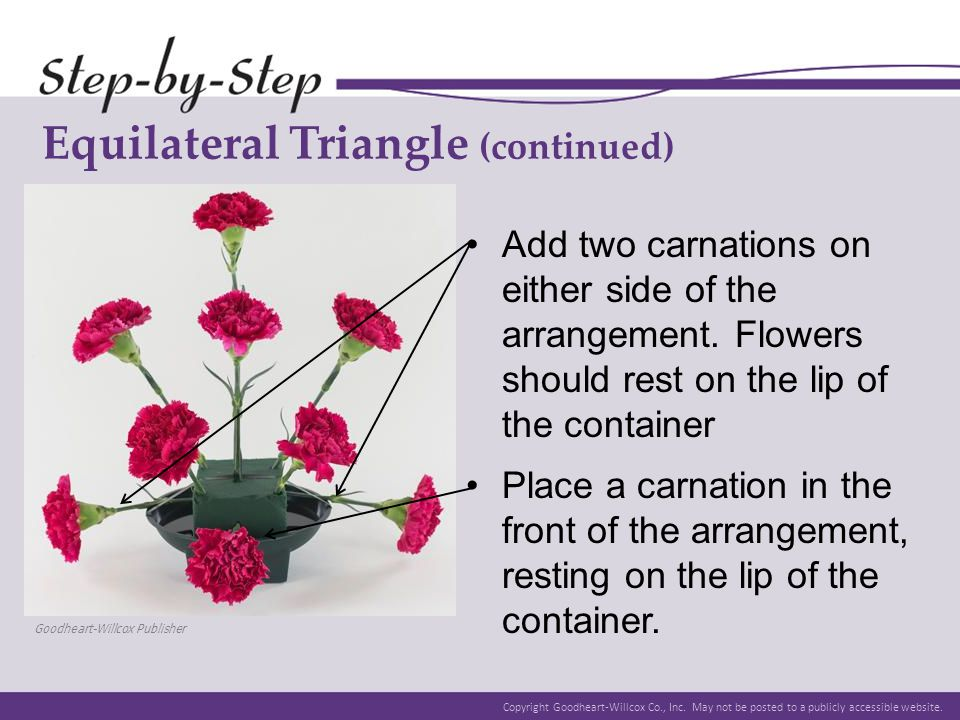 Copyright Goodheart-Willcox Co., Inc. May not be posted to a publicly accessible website. Equilateral Triangle (continued) Add two carnations on eithe
