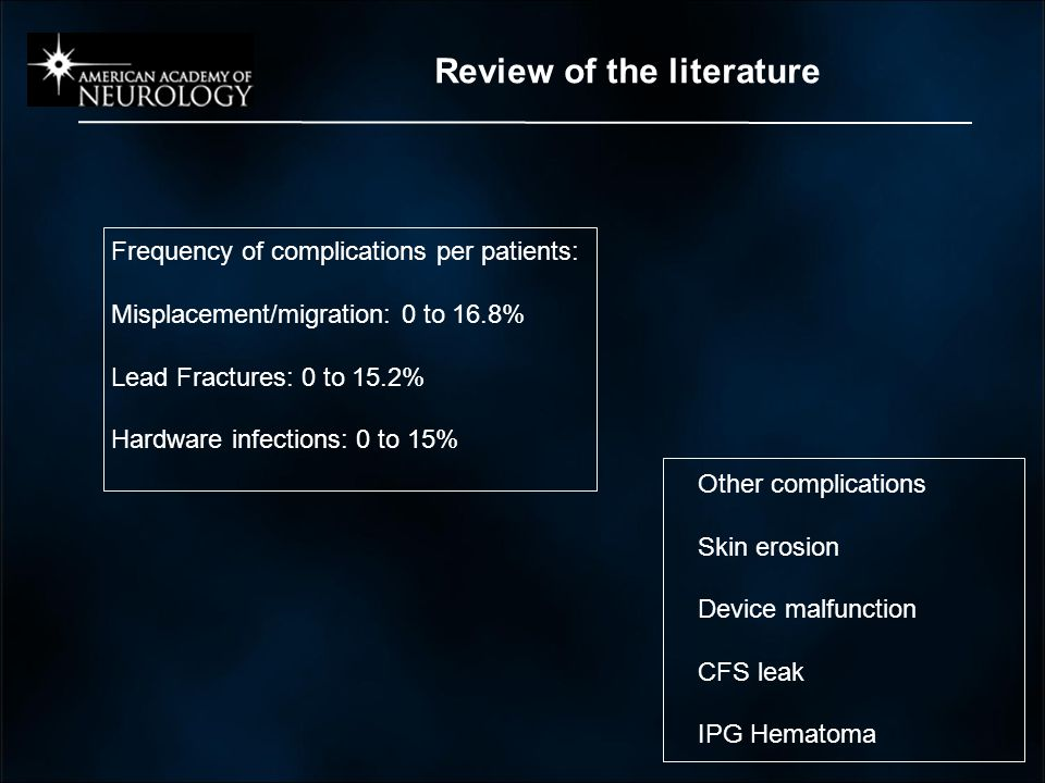 Review of the literature Frequency of complications per patients: Misplacement/migration: 0 to 16.8% Lead Fractures: 0 to 15.2% Hardware infections: 0 to 15% Other complications Skin erosion Device malfunction CFS leak IPG Hematoma