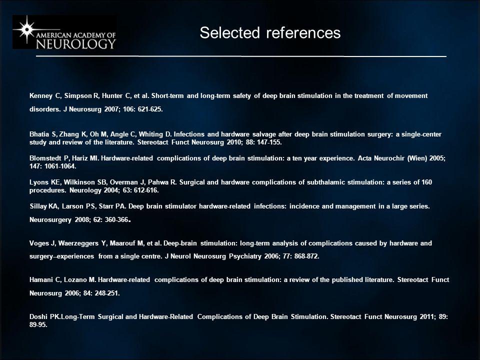Selected references Kenney C, Simpson R, Hunter C, et al.