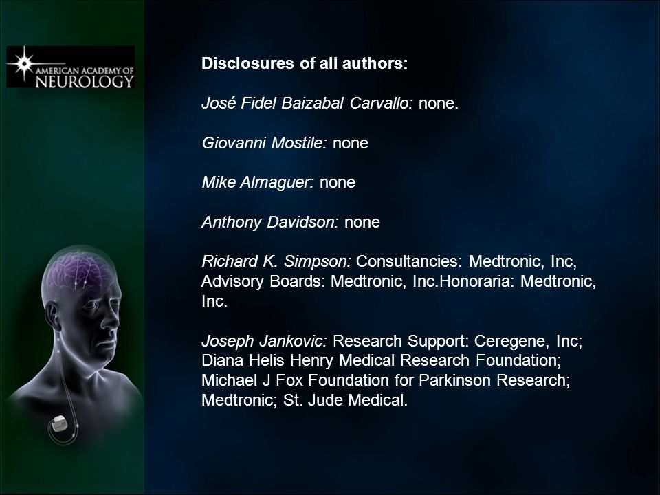 Disclosures of all authors: José Fidel Baizabal Carvallo: none.