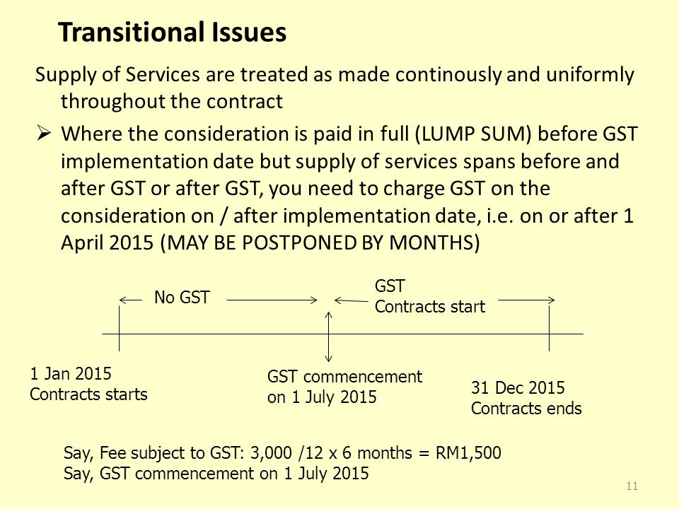 Transitional Issues Supply of Services are treated as made continously and uniformly throughout the contract  Where the consideration is paid in full