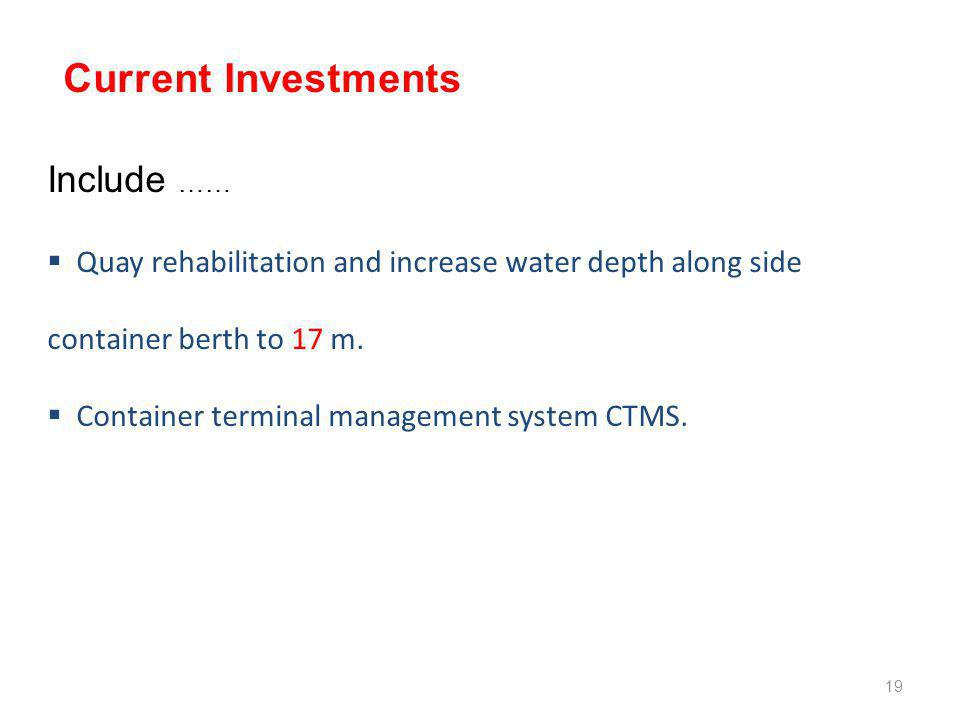 Include ……  Quay rehabilitation and increase water depth along side container berth to 17 m.  Container terminal management system CTMS. Current Inv