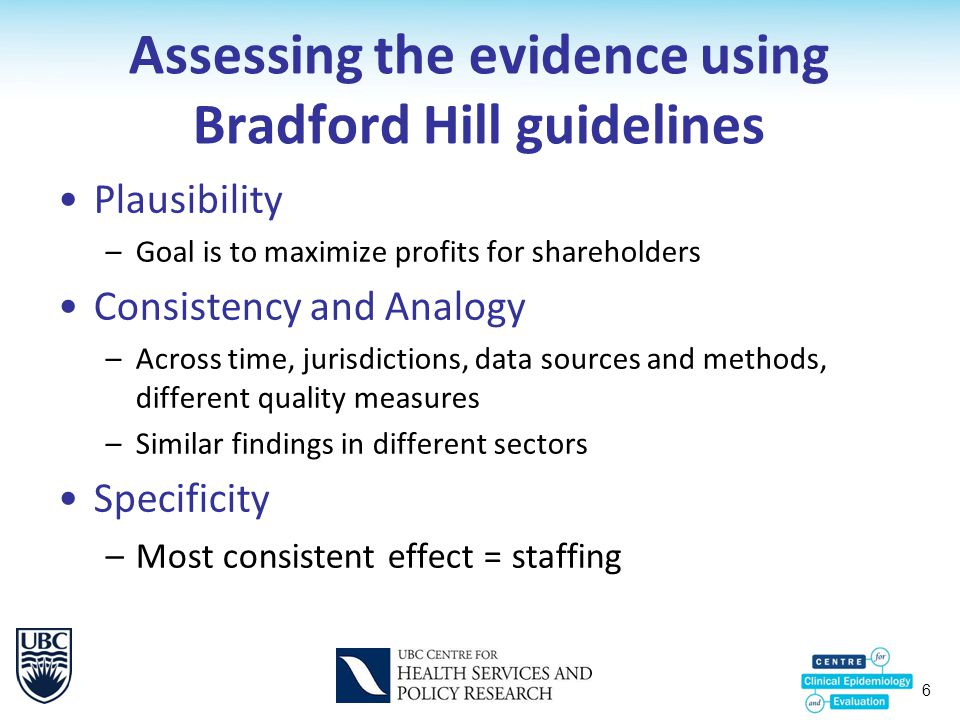 6 Assessing the evidence using Bradford Hill guidelines Plausibility –Goal is to maximize profits for shareholders Consistency and Analogy –Across time, jurisdictions, data sources and methods, different quality measures –Similar findings in different sectors Specificity –Most consistent effect = staffing