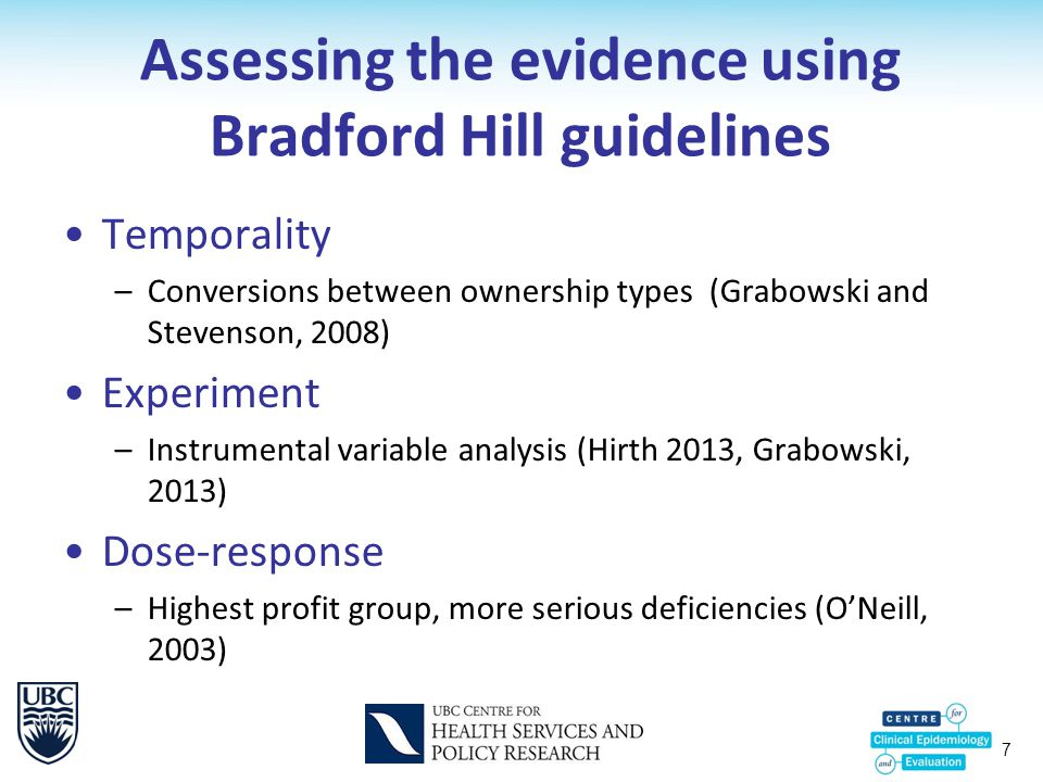 7 Assessing the evidence using Bradford Hill guidelines Temporality –Conversions between ownership types (Grabowski and Stevenson, 2008) Experiment –I