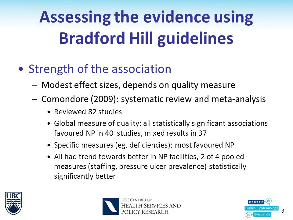 8 Assessing the evidence using Bradford Hill guidelines Strength of the association –Modest effect sizes, depends on quality measure –Comondore (2009): systematic review and meta-analysis Reviewed 82 studies Global measure of quality: all statistically significant associations favoured NP in 40 studies, mixed results in 37 Specific measures (eg.