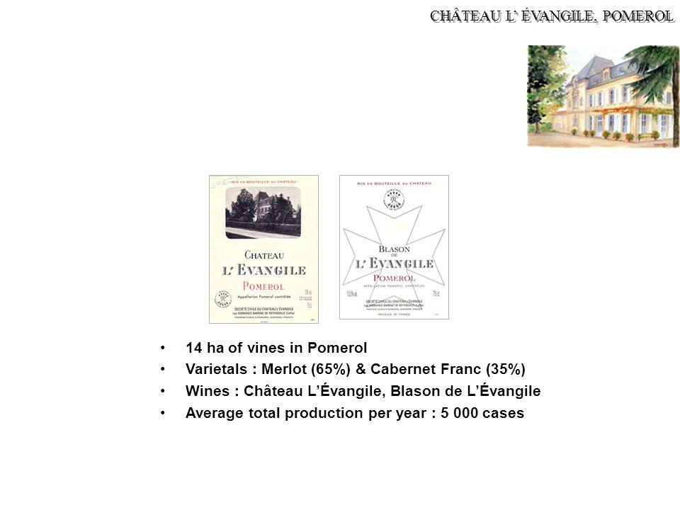 CHÂTEAU L' ÉVANGILE, POMEROL 14 ha of vines in Pomerol Varietals : Merlot (65%) & Cabernet Franc (35%) Wines : Château L'Évangile, Blason de L'Évangil