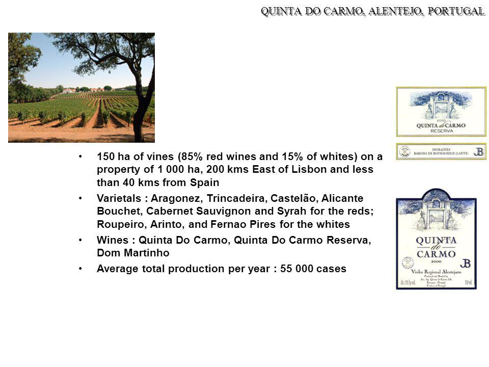 QUINTA DO CARMO, ALENTEJO, PORTUGAL 150 ha of vines (85% red wines and 15% of whites) on a property of 1 000 ha, 200 kms East of Lisbon and less than