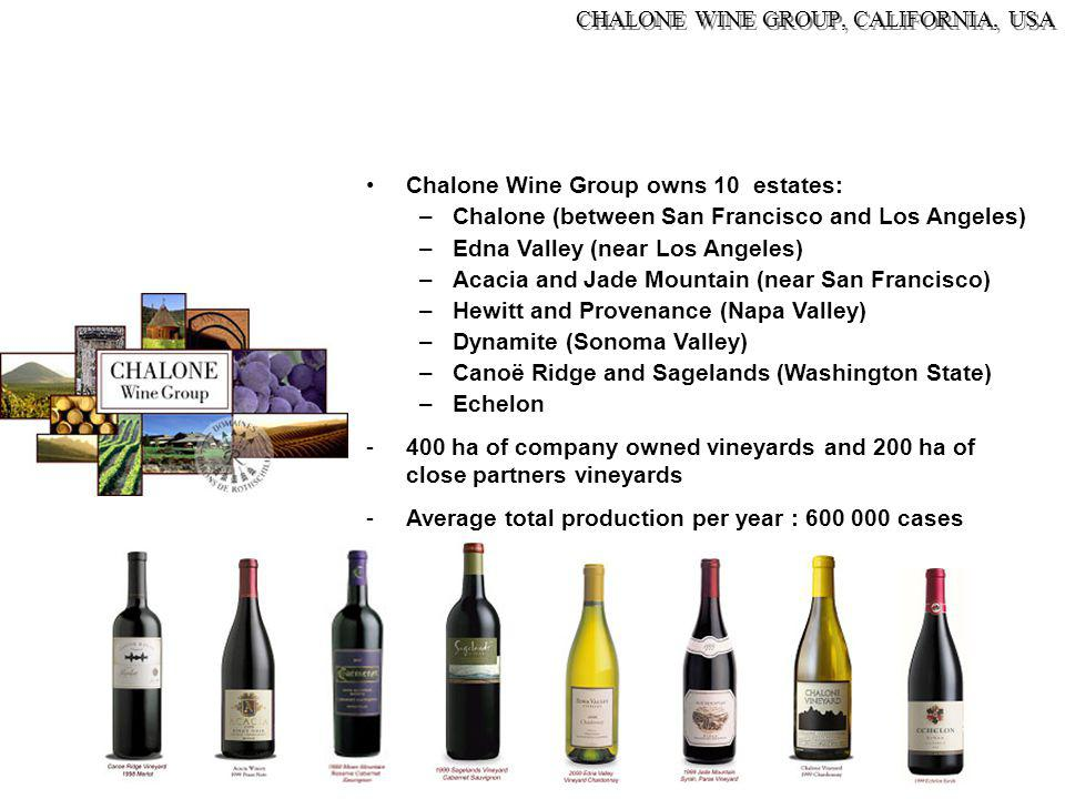 Chalone Wine Group owns 10 estates: –Chalone (between San Francisco and Los Angeles) –Edna Valley (near Los Angeles) –Acacia and Jade Mountain (near S